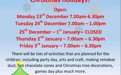 Childcare at Grow Happy over Christmas